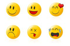 Smileys illustration. Yellow happy faces smiley emoticons Royalty Free Stock Photo