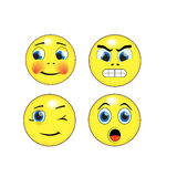 Smileys. Joyful , angry, winking, surprised emotiocons for web icons royalty free illustration
