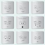 Smileys knoopt/Grappig glimlachpictogram/Smiley-gezicht/Reeks diverse emoticons dicht Royalty-vrije Stock Afbeelding