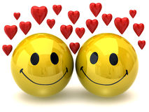 Smileys in love Stock Photo