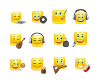 Smileys with musical instruments Royalty Free Stock Photo