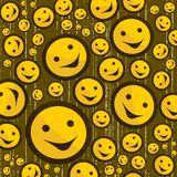 Smileys op grungeachtergrond Stock Afbeeldingen