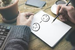 Smileys on page stock photography