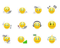 Smileys representing charging for the body and brain Royalty Free Stock Images