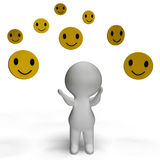 Smileys Smiling And 3d Character Shows Happiness Royalty Free Stock Photos