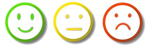 3 smileys som uttrycker olika sinnesrörelser Royaltyfri Fotografi