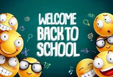 Smileys terug naar school vectorontwerp als achtergrond Gele smiley emoticons stock illustratie