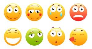 Smileys vector комплект Smiley сторона или желтые смайлики с выражениями лица и эмоциями как счастливое, смущенный кричать, иллюстрация штока