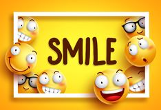 Smileys vector background with smile text and yellow funny smileys Royalty Free Stock Photos
