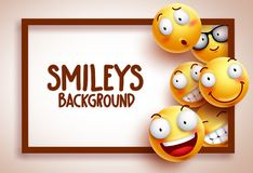 Smileys vector background template with funny yellow emoticons Stock Photo
