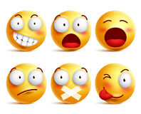 Smileys vector set. Smiley face icons or emoticons with facial expressions