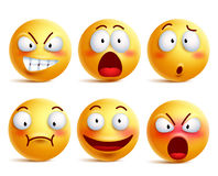 Smileys vector set. Smiley face or yellow emoticons with facial expressions. And emotions like happy, shouting, confused and shocked isolated in white Royalty Free Stock Photo