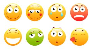 Smileys vector set. Smiley face or yellow emoticons with facial expressions and emotions like happy, shouting, confused stock illustration