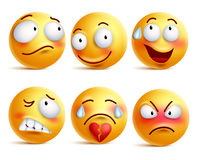 Smileys vector set. Smiley face or yellow emoticons with facial expressions. And emotions like happy, shy, angry and broken heart isolated in white background Stock Images