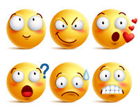 Smileys vector set. Yellow smiley face or emoticons with facial expressions. And emotions like happy, in love, and confused isolated in white background. Vector Stock Images