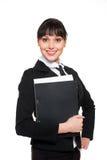 Smileysekretär mit Faltblatt der Unterlagen lizenzfreie stockfotografie