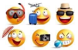 Smileysvector met de zomer en reisuitrustingen wordt geplaatst die Smileygezicht emoticons royalty-vrije illustratie