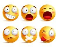 Smileysvektoruppsättning Smileyframsidasymboler eller emoticons med ansiktsuttryck vektor illustrationer
