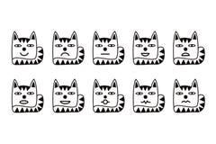 10 smileysymboler i form av roliga katter Omväxlande sinnesrörelser för rengöringsduk Arkivfoton