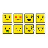 Smileyuppsättning Uppsättning av sinnesrörelsesymboler Sinnesrörelseknappar Arkivfoto