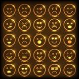 Smileyuppsättning med olika uttryck Arkivfoto