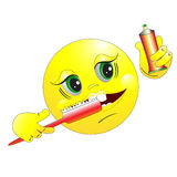The smilie brushes teeth. Stock Photo