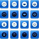 Smilie buttons. Collection of blue square smilie rollover buttons Stock Photo