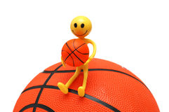 Smilie con pallacanestro isolata Fotografia Stock