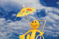Smilie enjoying sun. At the tropical island Royalty Free Stock Image