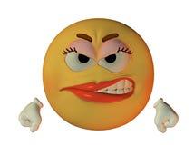 Smilie fêmea irritado Fotos de Stock