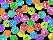 Smilie Wallpaper. Cute and colourful happy smiling faces forming a wallpaper background design Stock Photos