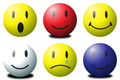 Smilies. Various coloured 3D smilies against a white background Royalty Free Stock Photography