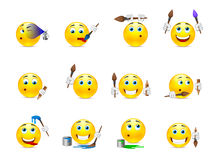 Smilies artist with a brush. Set of funny beautiful smiles with different objects for drawing Stock Photography