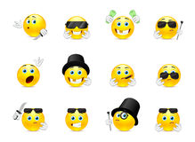 Smilies bandits. Set of scary and evil bandits emoticons with different objects Stock Image
