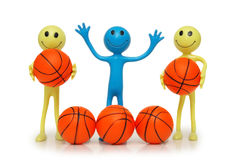 Smilies with basketballs. Isolated on white royalty free stock photography