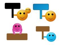 Smilies com sinais Fotografia de Stock Royalty Free
