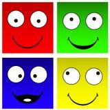 Smilies cuadrados divertidos Imagen de archivo