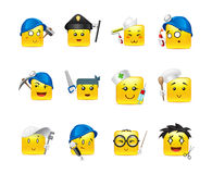Smilies different professions. Smiley square anime stickers of various professions gathered in a small set of Stock Photo