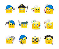 Smilies different professions. Smiley stickers of various professions gathered in a small set of Stock Image