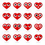 Smilies do coração dos ícones Imagens de Stock