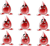 Smilies drop of blood - different moods Royalty Free Stock Photo