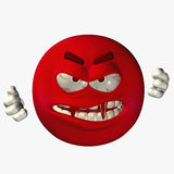 Smilies Fangs 1. Big Red Menacing Smilie with Long Red Fangs vector illustration