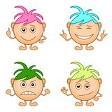 Smilies girls, set Royalty Free Stock Images