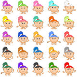 Smilies Girls, Set. Set of Smilies, Funny Girls with Colorful Hair, Cartoon Icons Symbolising Various Human Emotions and Moods. Vector Stock Photography
