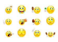 Smilies gluttons. Set of yellow smiley who eat meat and various other foods Royalty Free Stock Image