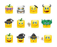 Smilies Halloween. Set of funny and very scary emoticons are dressed for Halloween Stock Photo