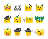 Smilies Halloween. Set of funny and very scary emoticons are dressed for Halloween Royalty Free Stock Images