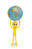 Smilies holding the Earth Royalty Free Stock Image