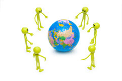 Smilies holding the globe Royalty Free Stock Photography
