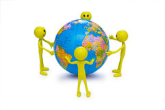 Smilies holding the globe Stock Photography